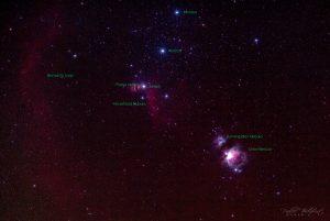 Orion Nebula og Bernard's Loop med label 19. oktober 2018